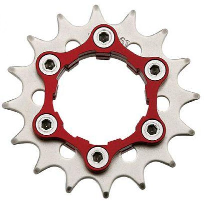 Problem Solvers Singlespeed Cog/Carrier 19t Red Single Speed-ratas Shimano / Sram -vapaarattaisiin. Mukana leveampi tuki